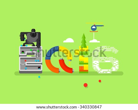 Abstract sign 2016 with monkey. Animal and new year, traditional character, flat vector illustration - stock vector