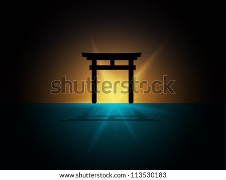 abstract Silhouette of japan gate on the water - stock vector