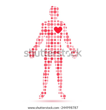 Abstract silhouette of man figure with heart symbol. Vector illustration. - stock vector