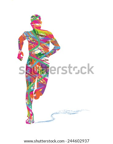 abstract silhouette of man running - stock vector