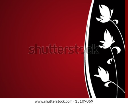 Abstract silhouetted flowers on a red background. - stock vector