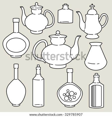 abstract silhouettes of kitchen dishes - stock vector