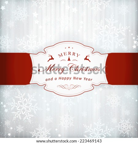 Abstract silver background with faint vertical stripes, stars, snow flakes and a red label with Merry Christmas and embellishment. Light effects and the silver color give it a festive feeling. - stock vector