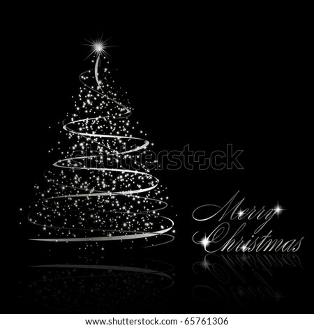 Abstract silver christmas tree on black background. Vector eps10 illustration - stock vector