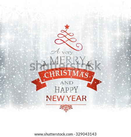 Abstract silver winter, Christmas card with snowflakes, snowfall, out of of focus light dots, stars and light effects and the wording Merry Christmas and Happy New Year. Copy space - stock vector
