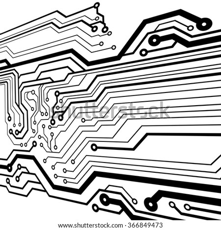 Abstract simple circuit board in perspective view. EPS10 vector curves - stock vector