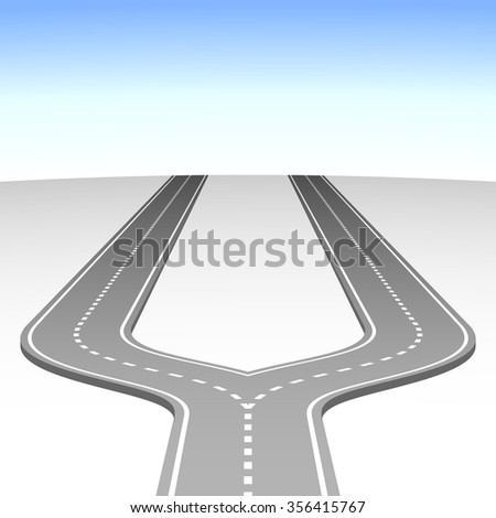 Abstract simple road fork vector background.  - stock vector