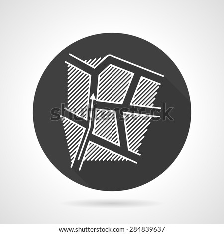 Abstract single black round flat design vector icon with white contour route map with direction arrow on gray background. - stock vector