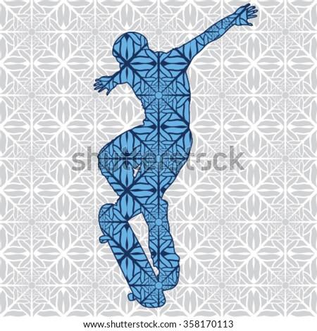 Abstract skateboarder design - stock vector