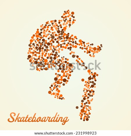 Abstract skateboarder silhouette from dots in jump - stock vector