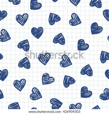 Abstract sketch background with full hearts. Drawing freehand pencil style. Vector pattern for Valentine's Day.   - stock vector