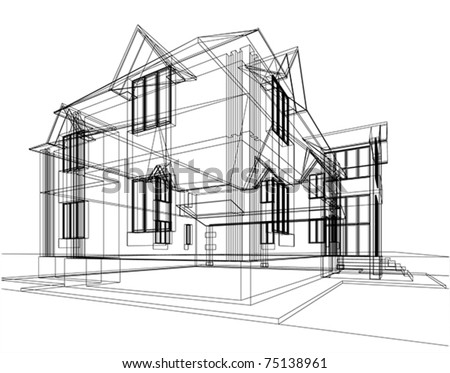 Abstract sketch of house. Architectural 3d illustration - stock vector