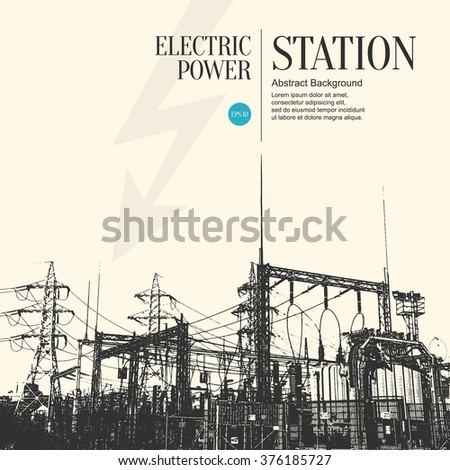 Abstract sketch stylized background. Electric power station - stock vector
