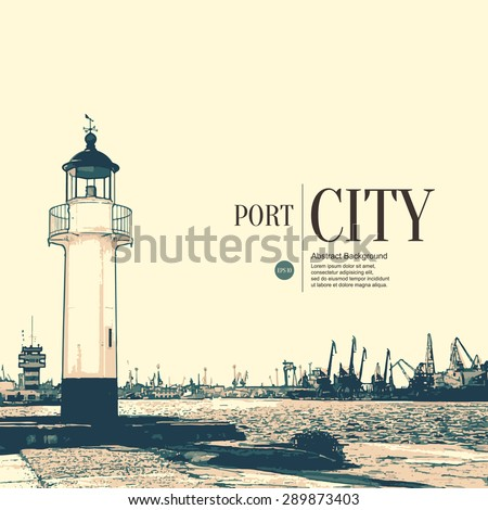 Abstract sketch stylized background. Old lighthouse - stock vector