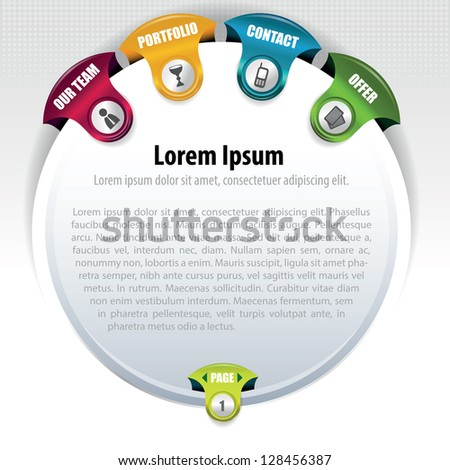 Abstract small rounded website concept with navigation, place for text and paging - stock vector