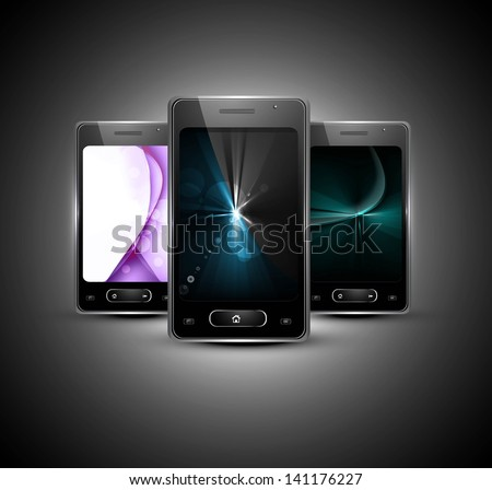 Abstract smart phone or mobile bright colorful handset presentation background illustration - stock vector