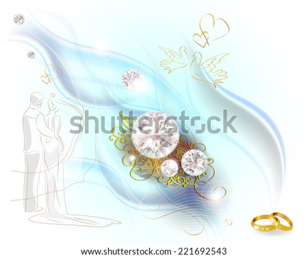 Abstract smoked background with diamonds and wedding rings - stock vector