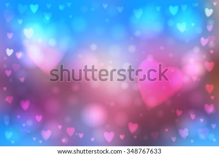 Abstract smooth blur blue and pink background with heart-shaped lights over it. - stock vector