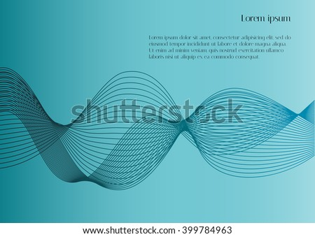 Abstract smooth lines on light blue background with text. Vector background for design magazines and leaflets - stock vector