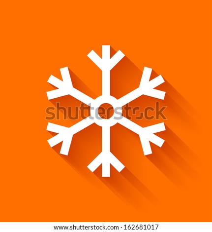 Abstract snowflake in flat style on orange background. Vector illustration - stock vector