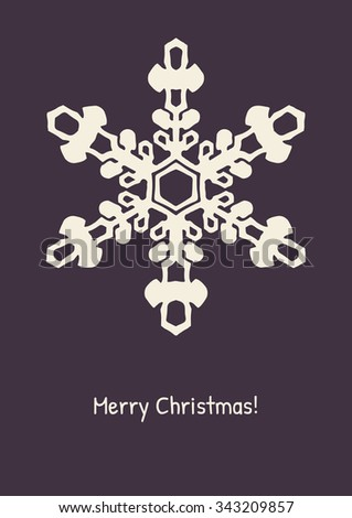 Abstract snowflake on color background. Christmas card. New Year illustration. Holiday design. Winter backdrop. Vector illustration. - stock vector