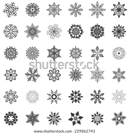 Abstract snowflake shapes isolated on white background. - stock vector