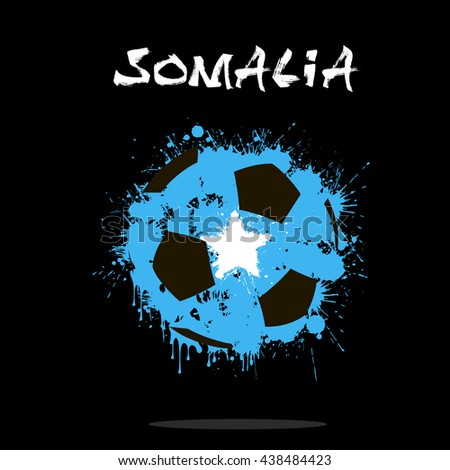 Abstract soccer ball painted in the colors of the Somalia flag. Vector illustration  - stock vector