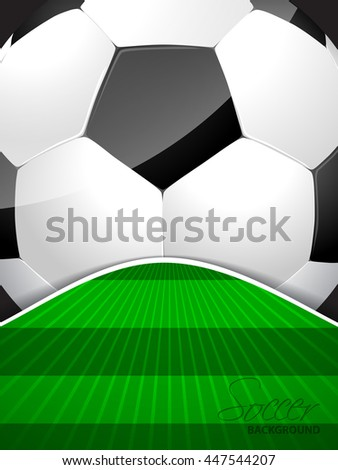 Abstract soccer brochure template with huge ball and bursting field - stock vector