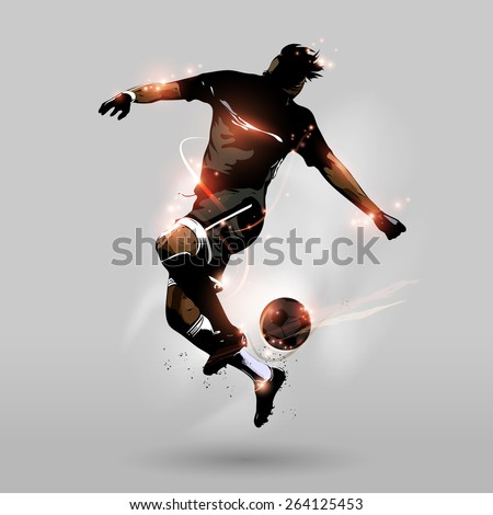 Abstract soccer player jumping touch a soccer ball in the air - stock vector