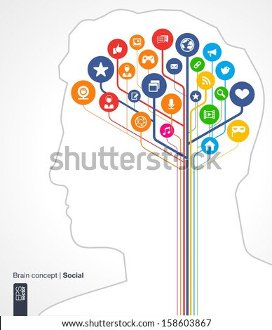 Abstract social media background. Brain concept with silhouette of a human head and icons (earth, network, computer, technology, like, mail, mobile and speech bubble). Vector infographic illustration. - stock vector