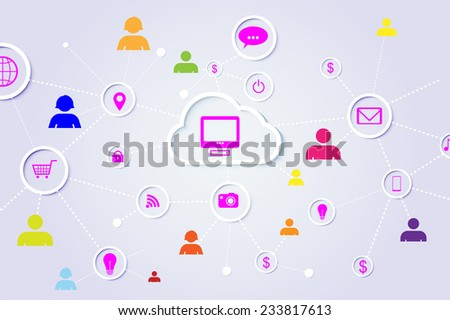 Abstract Social Network elements - stock vector