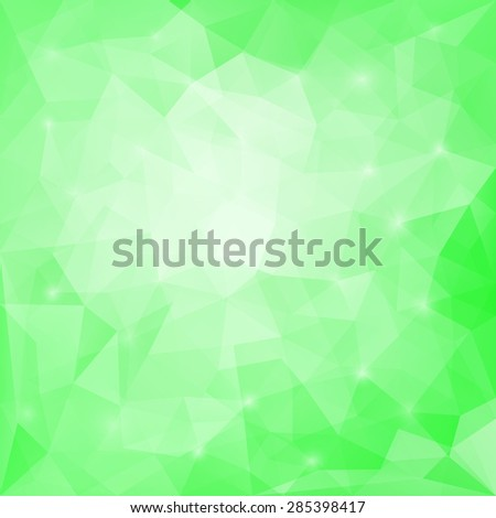 Abstract soft green colored polygonal vector triangular geometric background for use in design for card; invitation; poster; banner; placard or billboard cover - stock vector