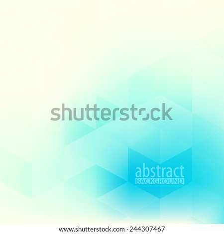 Abstract soft pattern with bright turquoise triangles on light yellow background. Vector - stock vector
