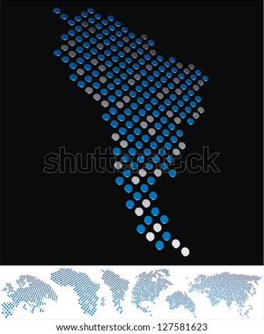 abstract South America map from on array of blue and gray metallic points, on black background with maps of the continents on the white bottom line - stock vector