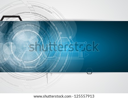 abstract space circle computer technology business banner - stock vector