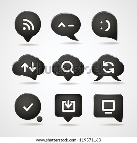 Abstract speech clouds with web icons collection - stock vector