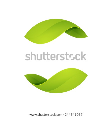 Abstract sphere green leaf logo - stock vector