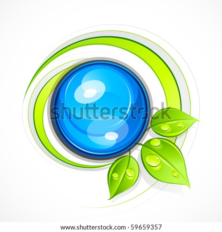 Abstract sphere with leaves. Business logo - stock vector