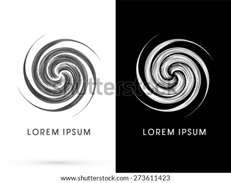 Abstract Spin, design using black and white line, sign ,logo, symbol, icon, graphic, vector. - stock vector