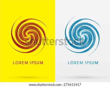 Abstract Spin, design using red and blue line, sign ,logo, symbol, icon, graphic, vector. - stock vector