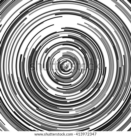 Abstract spiral element. Swirl, twirl, rotating shape. Black and white vector illustration background. - stock vector