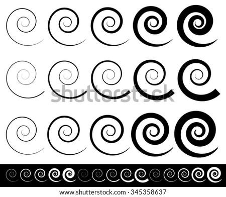 Abstract spiral set - stock vector