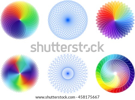 Abstract spirograph element set  - stock vector