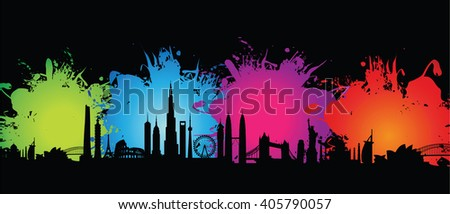 abstract splash cityscape - stock vector