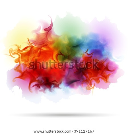 Abstract splash colorful smoke background. Steam, cloud, ink. Realistic texture - stock vector