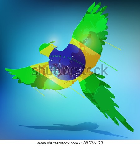 Abstract splatter brazil flag on a flying macaw bird - stock vector