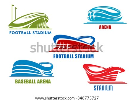 Abstract sport arenas and stadiums symbols or icons in red, blue and green colors. For team sport competitions  - stock vector