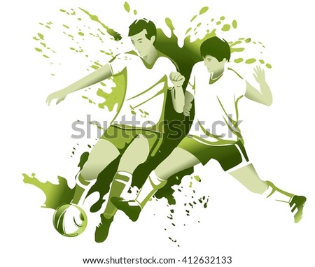 Abstract sport background with soccer football players - stock vector