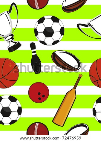 abstract sports equipment pattern background, vector illustration - stock vector