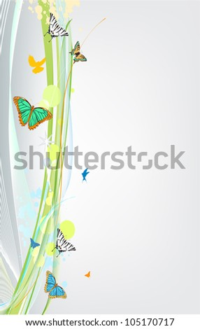abstract spring background with butterfly - stock vector